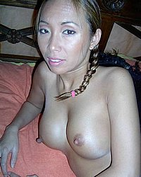 Asian hairy honey. Pretty exotic chick with pink erect nips showing off her hairy hole!. Click here to see the photos.