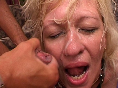Blonde granny enjoying three hard cocks Download the free movie clips now