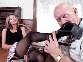 Footjobs : Stockinged Natalie Sky heel Sex!