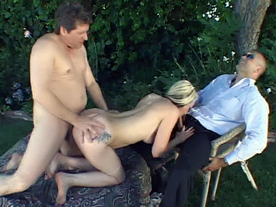 Watch My Wife : Blonde Wife Outdoor threesome!