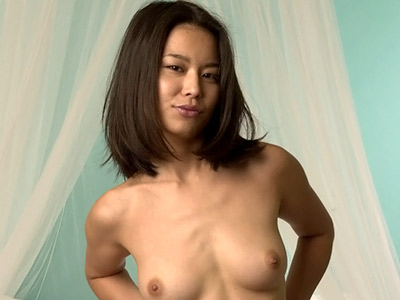Hot bedroom show. Excited oriental chick stripping down and spreading wide in bed. Check out for more high-res photos of this gallery!