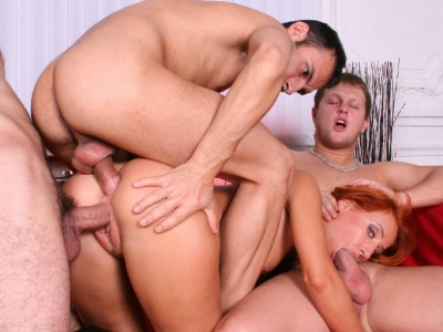 Cumshot drenched butt fuck. Excited redhead gets in a hardcore gang bang action with three guys and enjoy anus blasting. Check it out for more preview pictures!