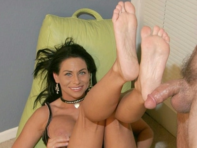 Busty foot sex. Hot foot tease with a busty pornstar showing off her lovely feet and covering it with cum. Download the free photos now!
