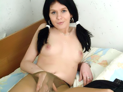 Intense sex toy pounding. Pigtailed lady Joanna shoves a green sex toy in her mouth and pounds it in her cunt in this solo porn. Click here for the gallery.