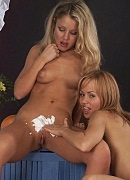 Creamed lesbo fanny. Stunning babes getting their shaved cunts creamed. Click here for more pictures.