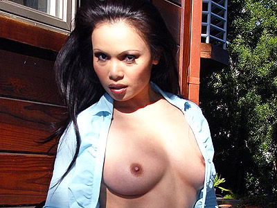 Busty asian pussy rubbing. Nice Asian model show off her awesome set of knockers and parts her legs to diddle with her clit. Click here for more photos!