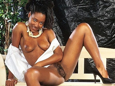 Excited ebony pussy diddling. Sultry ebony pornstar with libidinous black arse flaunts it while rubbing her bushy gash. Click here for the gallery.