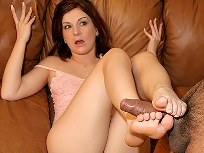 Large dick footjob. Excited Renee Pornero satisfying this horny foot worshiper with her soft soles and nice toes. Click here for the gallery.