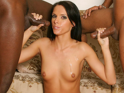 Racy interracial threesome. Dirty babe Jennifer Dark feasts on large black cocks and got simultaneously have intercourse in this threesome. Craving for more Enter here!