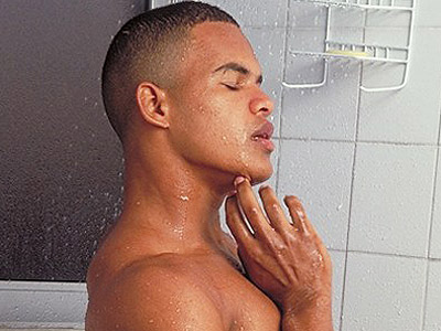 Buffed black gay taking a shower and showing off his chiseled torso in this ...