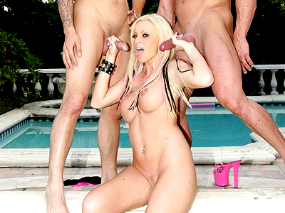 Blonde kelly threesome. Sultry blonde pornstar Kelly Taylor hooks up with two guys and takes nice care of their packages. Want more Click here now!