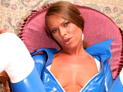 Nasty hd threesome. Naughty pornstar posing in her blue vinyl overalls and gets nasty threesome have sexual intercourse in full HD. Download the free photos now!
