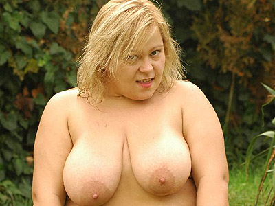 Outdoor cock riding fatty helga. Curvy blonde fatty Helga crawls on the grass before riding a huge cock outdoors. Click here for the gallery.