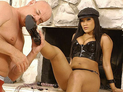 Christina excited dominatrix. Asian dominatrix Christina Aguchi coaxing her malesub into worshiping her lovely feet. Want more Click here now!