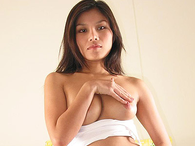 Toy crammed hairy asian. Exotic Asian model show off her perky breasts and examine her hairy muff with a huge dildo. Click here for the gallery.