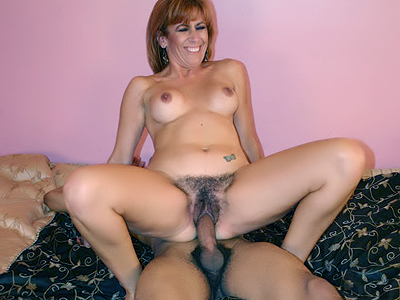 Hairy pussy screwed. Exciting mature Mikela Kennedy gives a huge shaft a give suck and later rides it with her hairy pussy. Check it out for more preview pictures!