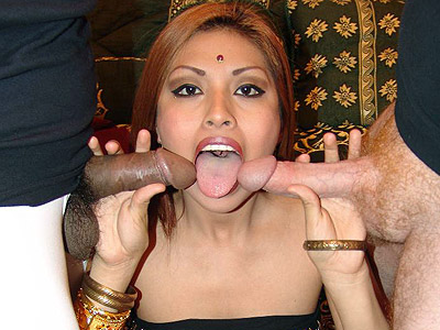 Cock drilled indian roopa. Indian hottie Roopa sizing up a white penish with her lips and cramming it deep into her cunt. Click here to view this gallery.