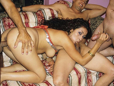Indian sex gang bang. Horny Indian babe Cavita swallowing and have sex dicks like a champ in a hot gang bang movie. Click here for more pictures.