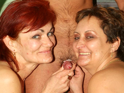 Cumshot guzzling mature plumpers. Chunky matures Steph And Julianna take turns in a threesome fuck fest and slurping off fresh cum. Click here for more pictures.