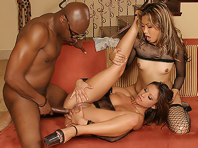 Hot stocking threesome. Sultry sophisticated porn babes in stockings Jayna Oso and Lana Croft tag teaming over a large black shaft. Check it out for more preview pictures!